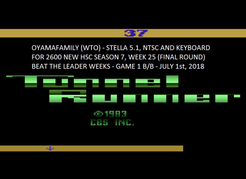oyamafamily: Tunnel Runner (Atari 2600 Emulated Novice/B Mode) 37 points on 2020-03-28 11:55:25