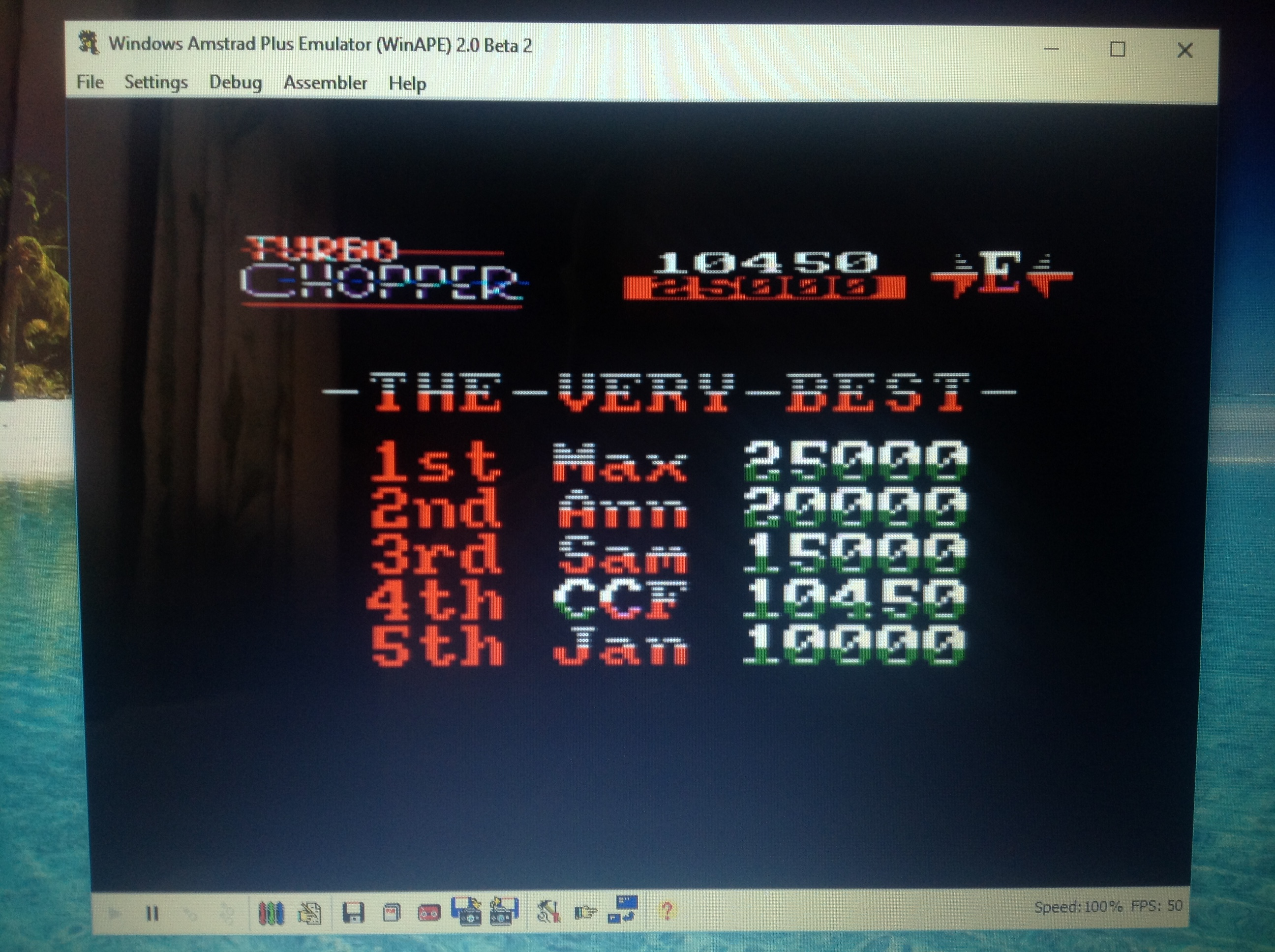 CoCoForest: Turbo Chopper (Amstrad CPC Emulated) 10,450 points on 2017-08-08 03:39:16