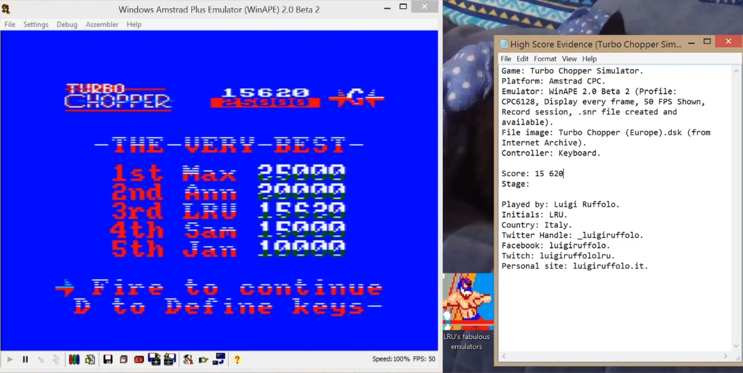 LuigiRuffolo: Turbo Chopper (Amstrad CPC Emulated) 15,620 points on 2020-07-06 06:01:27