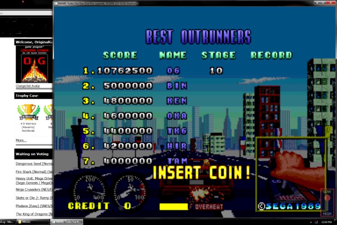 OriginalGamer: Turbo Outrun (Arcade Emulated / M.A.M.E.) 10,762,500 points on 2015-07-16 19:46:12