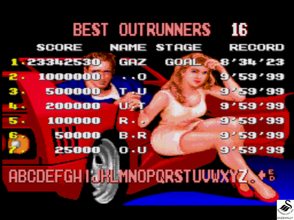 gazzhally: Turbo Outrun [Easy] (Sega Genesis / MegaDrive Emulated) 23,342,530 points on 2017-07-03 06:08:57