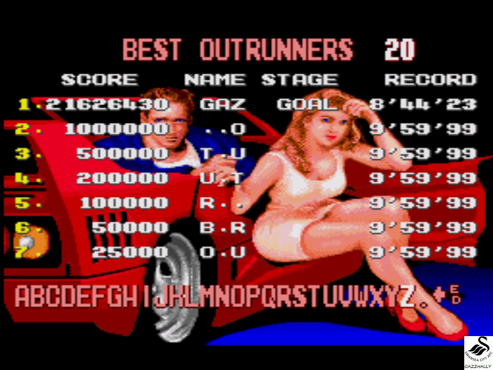 gazzhally: Turbo Outrun (Sega Genesis / MegaDrive Emulated) 21,626,430 points on 2017-07-03 06:09:58