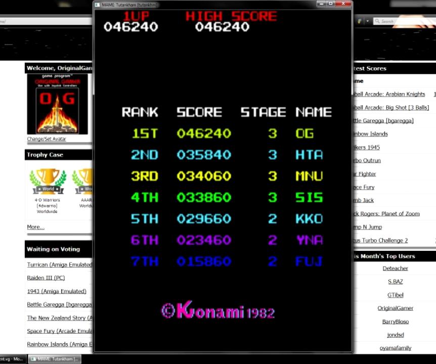 OriginalGamer: Tutankham (Arcade Emulated / M.A.M.E.) 46,240 points on 2015-07-23 15:30:40