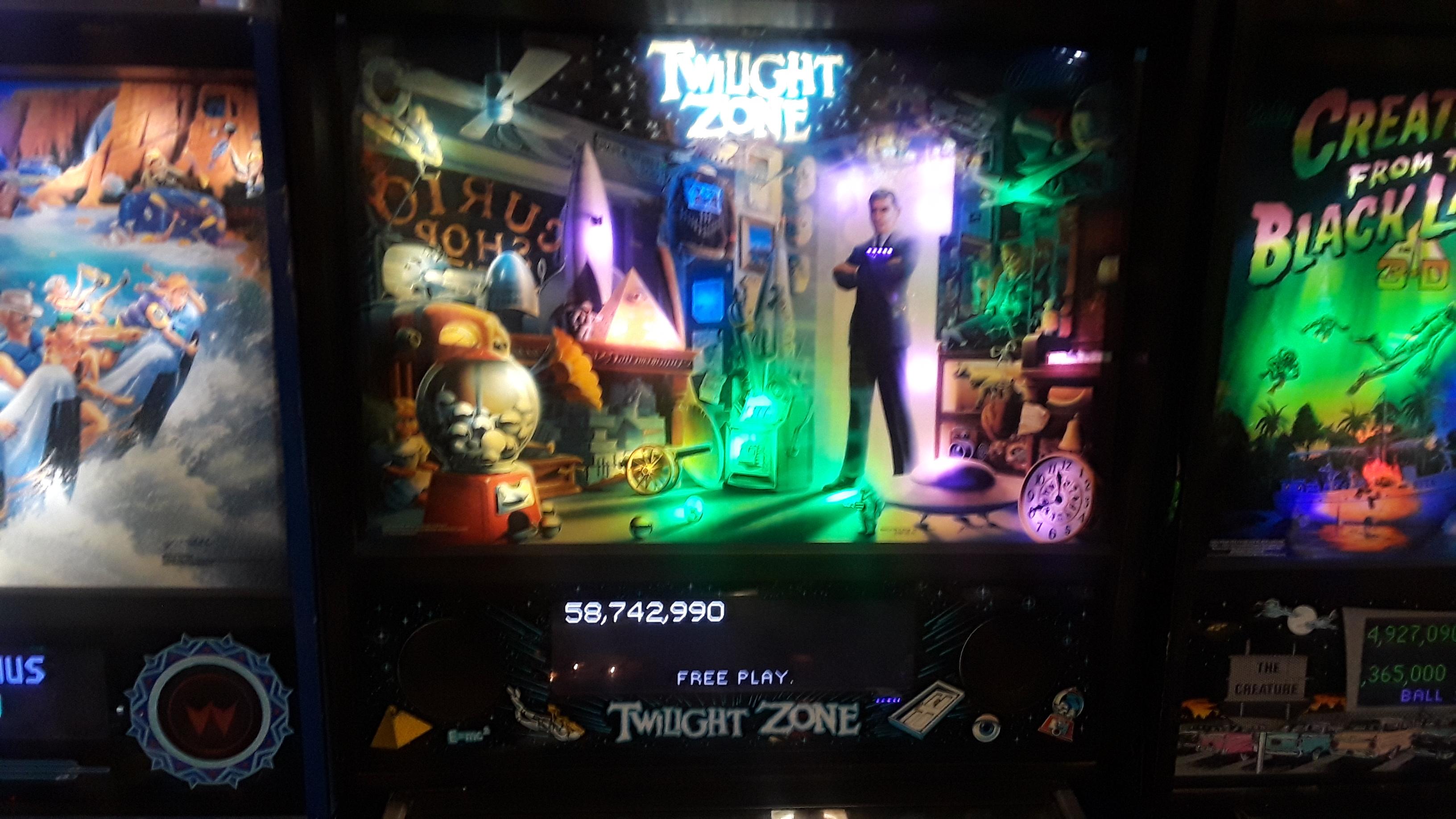 JML101582: Twilight Zone (Pinball: 3 Balls) 58,742,990 points on 2019-11-23 20:07:39