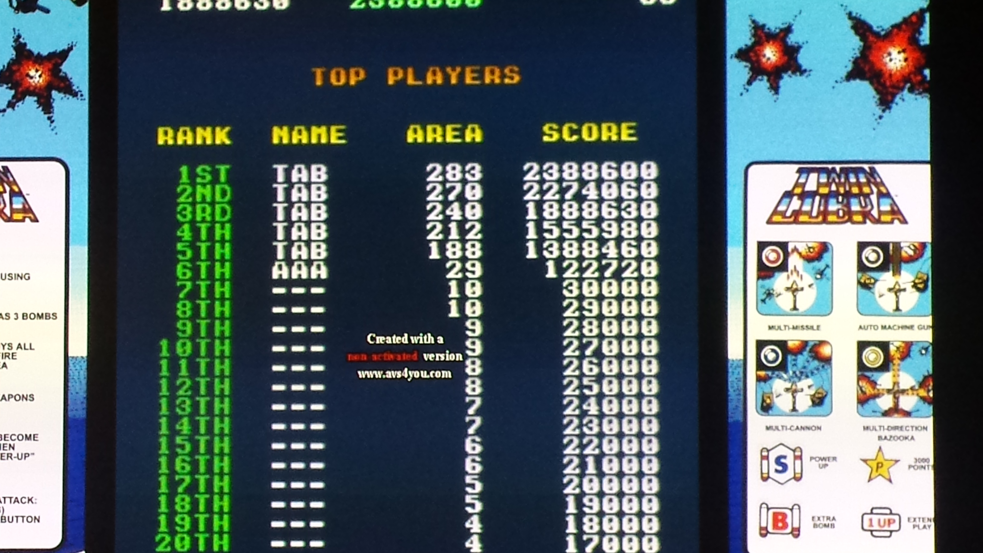 Event: Twin Cobra (Arcade Emulated / M.A.M.E.) 1,888,630 points on 2015-09-09 22:27:56