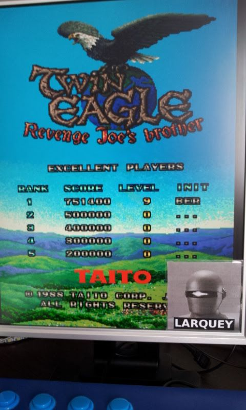 Larquey: Twin Eagle [twineagl] (Arcade Emulated / M.A.M.E.) 751,400 points on 2017-09-10 10:12:20