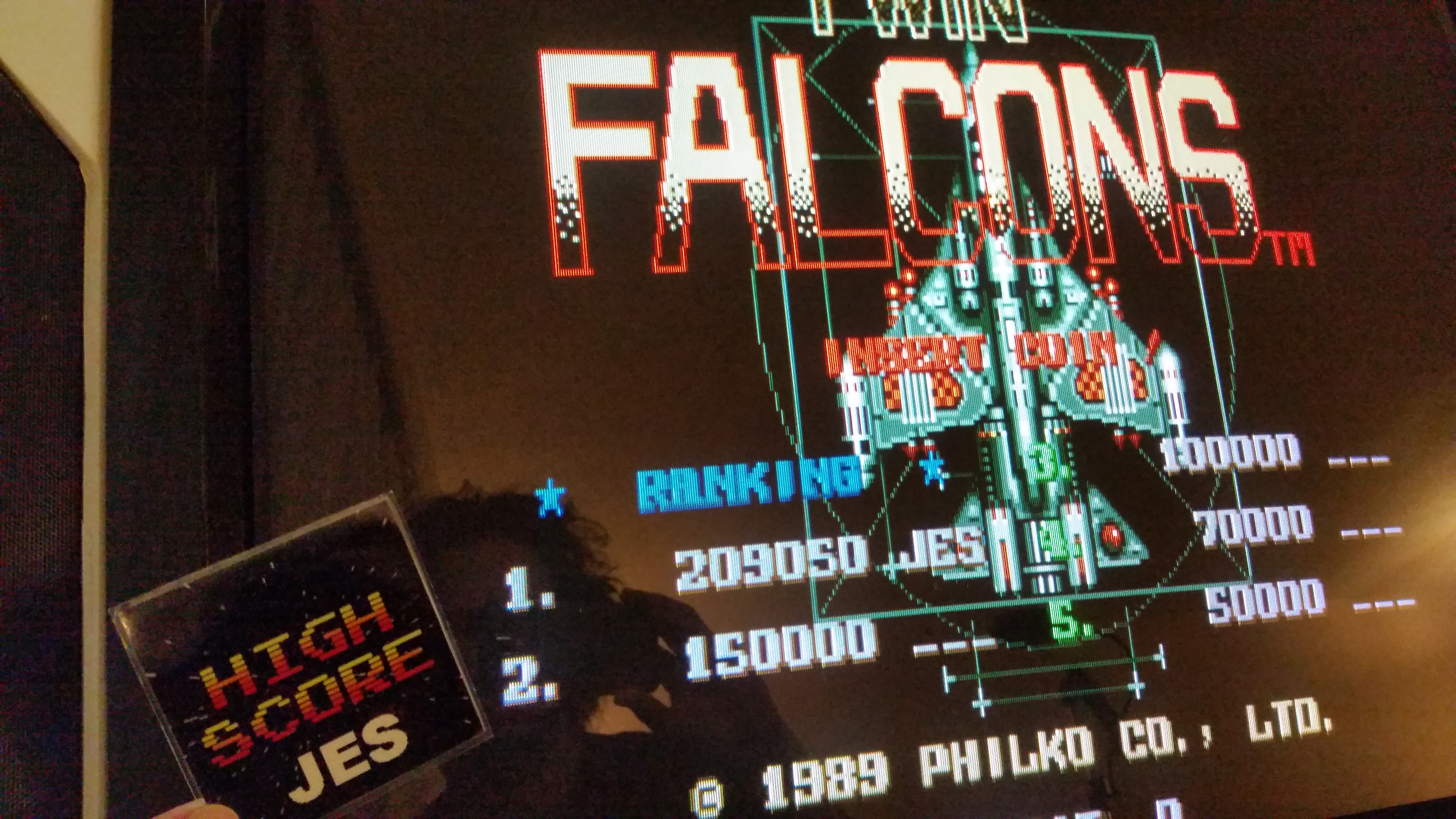 JES: Twin Falcons [twinfalc] (Arcade Emulated / M.A.M.E.) 209,050 points on 2017-01-15 02:24:08