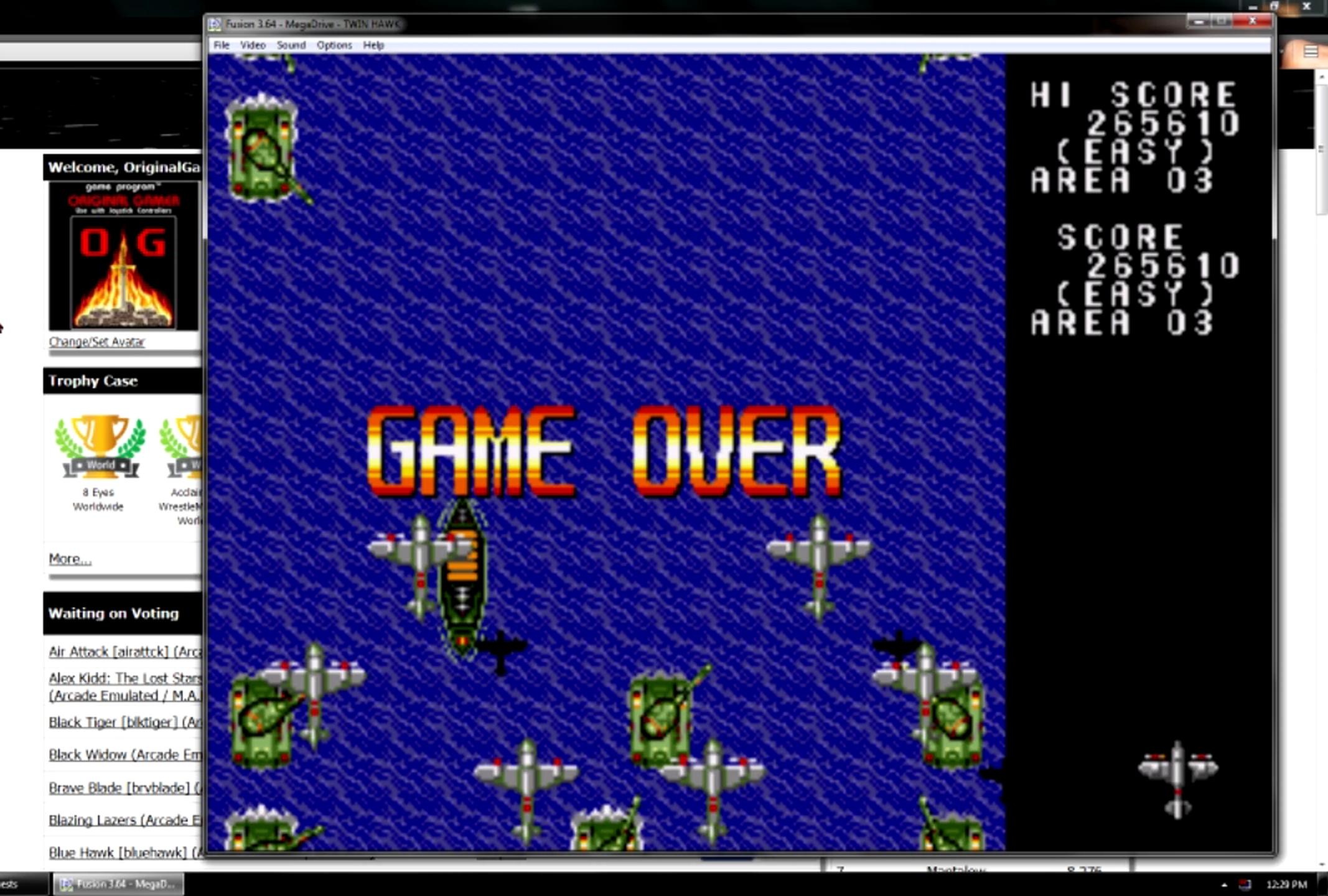 OriginalGamer: Twin Hawk [Easy] (Sega Genesis / MegaDrive Emulated) 265,610 points on 2015-06-20 18:01:10