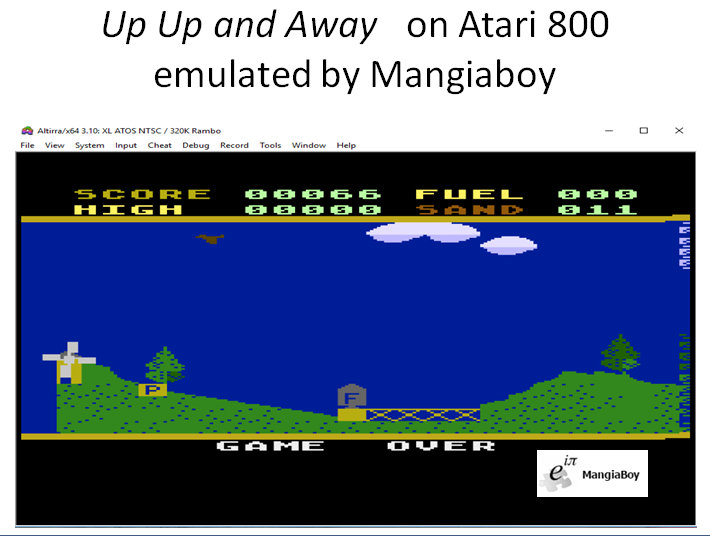 MangiaBoy: Up Up and Away [Pilot] (Atari 400/800/XL/XE Emulated) 66 points on 2018-12-25 21:47:00
