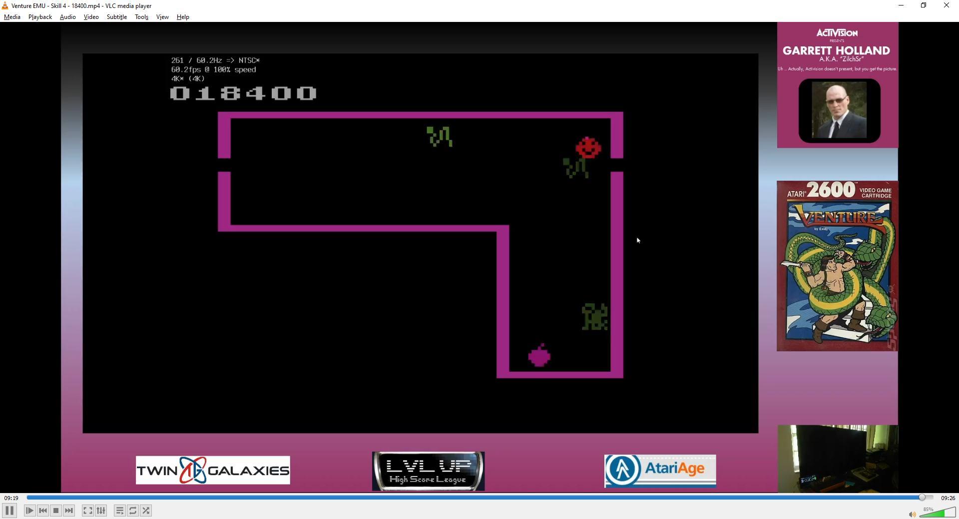 ZilchSr: Venture (Atari 2600 Emulated Expert/A Mode) 18,400 points on 2021-02-13 16:06:27