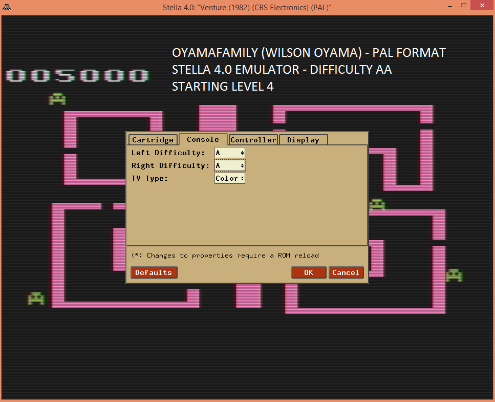 oyamafamily: Venture (Atari 2600 Emulated Expert/A Mode) 5,000 points on 2016-04-09 15:33:14