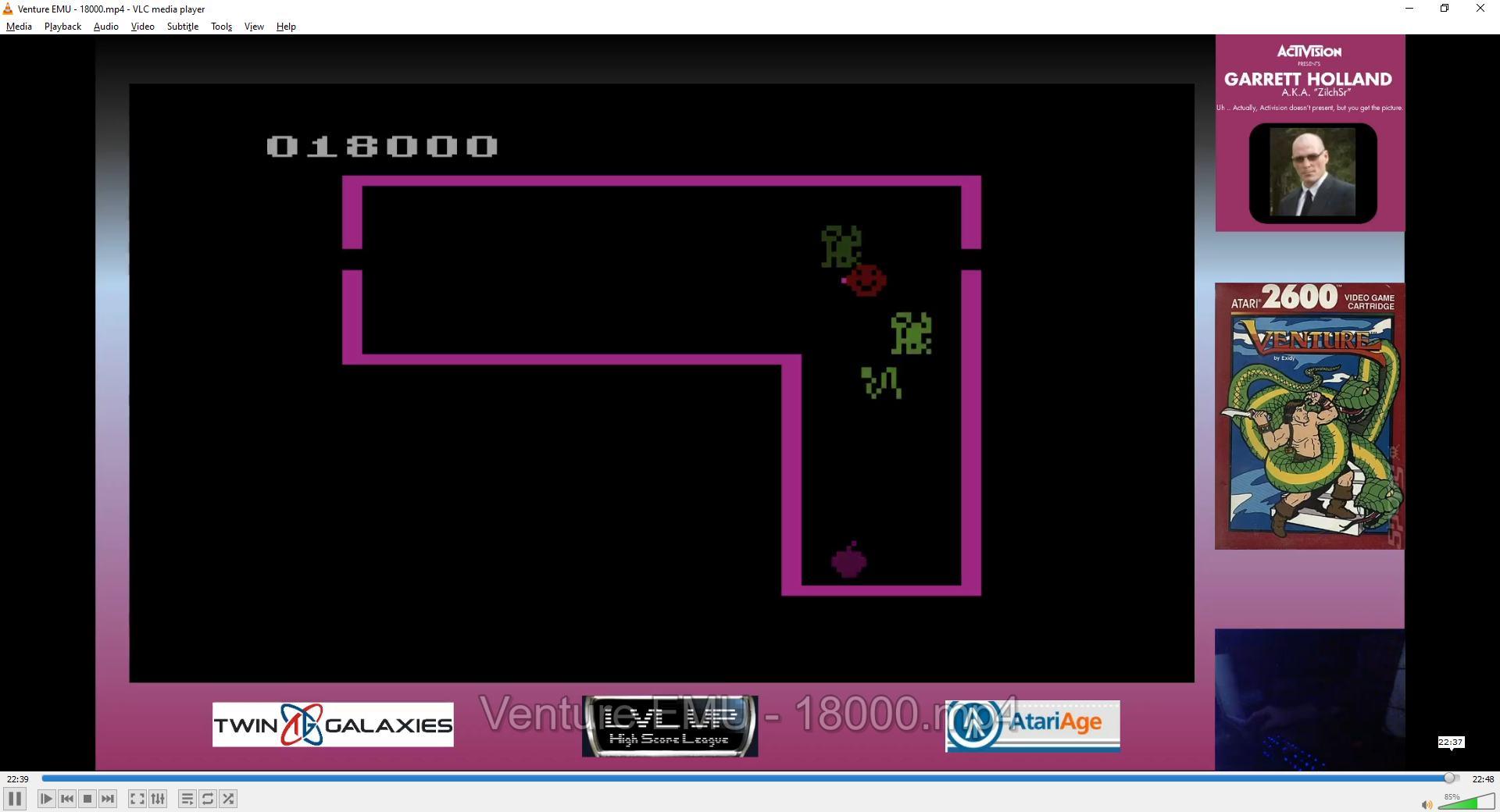 ZilchSr: Venture (Atari 2600 Emulated Novice/B Mode) 18,000 points on 2021-02-13 16:07:43