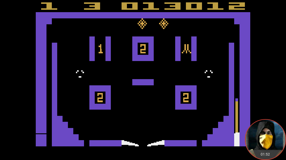 omargeddon: Video Pinball (Atari 2600 Emulated Expert/A Mode) 13,012 points on 2018-05-03 00:25:34