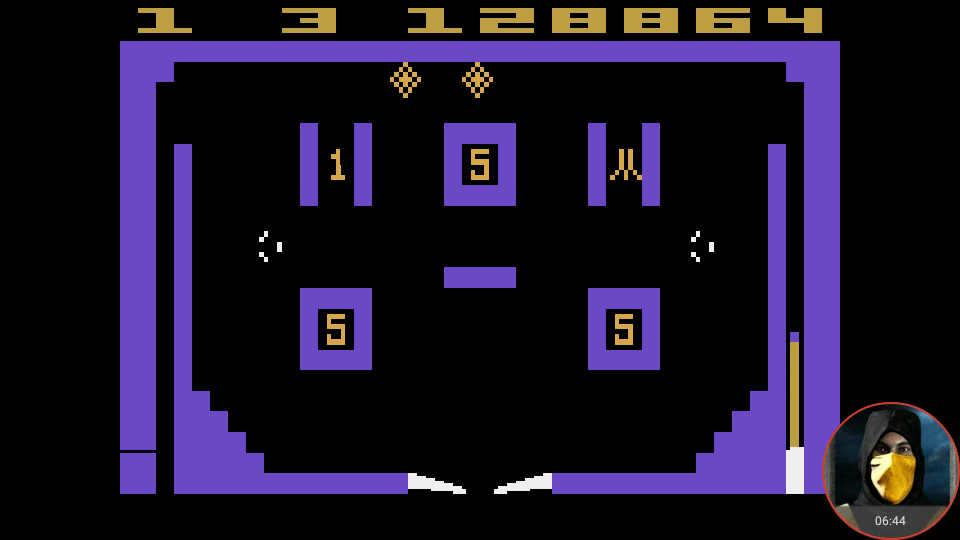 omargeddon: Video Pinball (Atari 2600 Emulated Novice/B Mode) 128,864 points on 2018-05-02 23:59:59