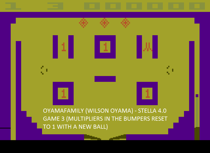 oyamafamily: Video Pinball: Game 3 (Atari 2600 Emulated Expert/A Mode) 63,325 points on 2015-09-10 18:29:49