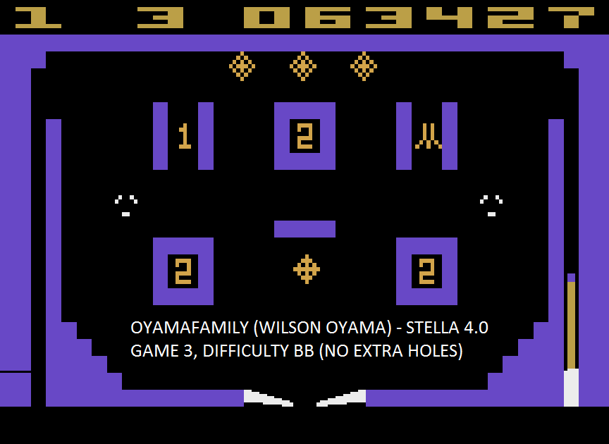 oyamafamily: Video Pinball: Game 3 (Atari 2600 Emulated Novice/B Mode) 63,427 points on 2015-09-10 18:29:40