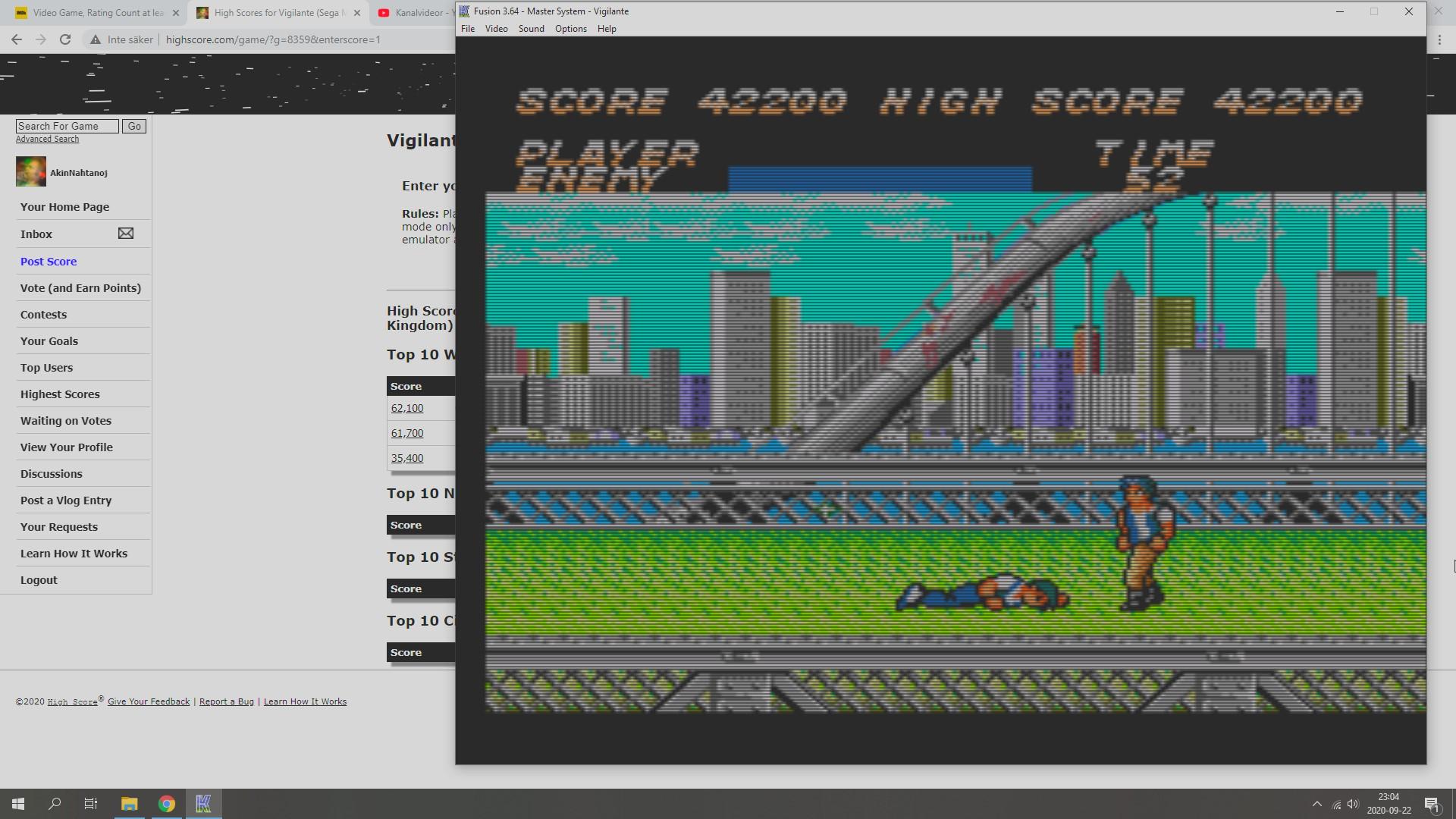 AkinNahtanoj: Vigilante (Sega Master System Emulated) 42,200 points on 2020-09-22 16:20:09