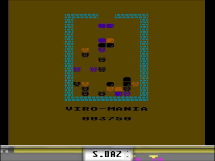 S.BAZ: Viro-Mania (Atari 400/800/XL/XE Emulated) 3,750 points on 2016-04-22 12:16:32