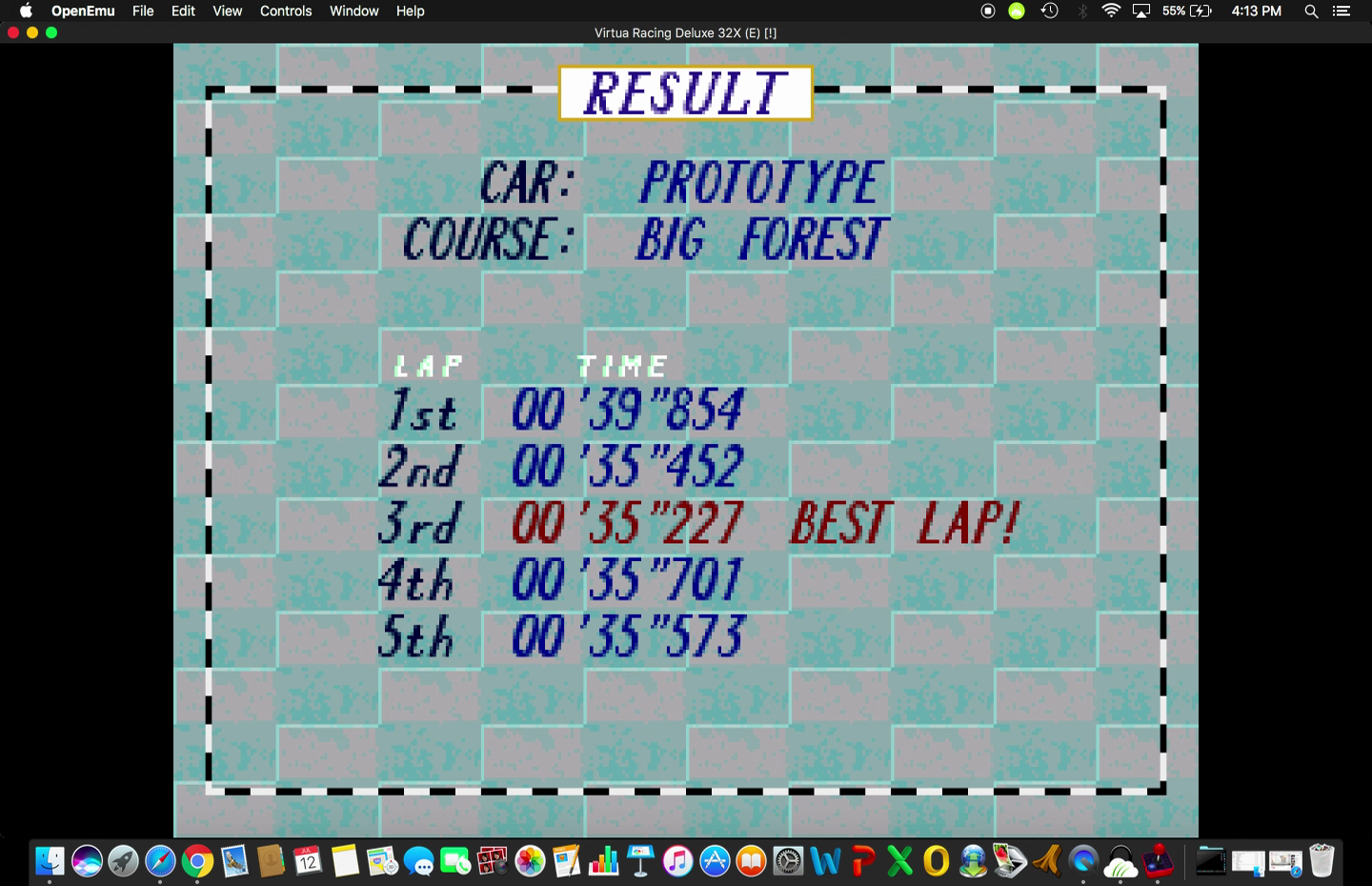 Marco1019: Virtua Racing Deluxe [Sega 32X]: Time Attack: Big Forest [5 Laps/Prototype] (Sega Genesis / MegaDrive Emulated) 0:03:01.807 points on 2017-07-21 22:10:53