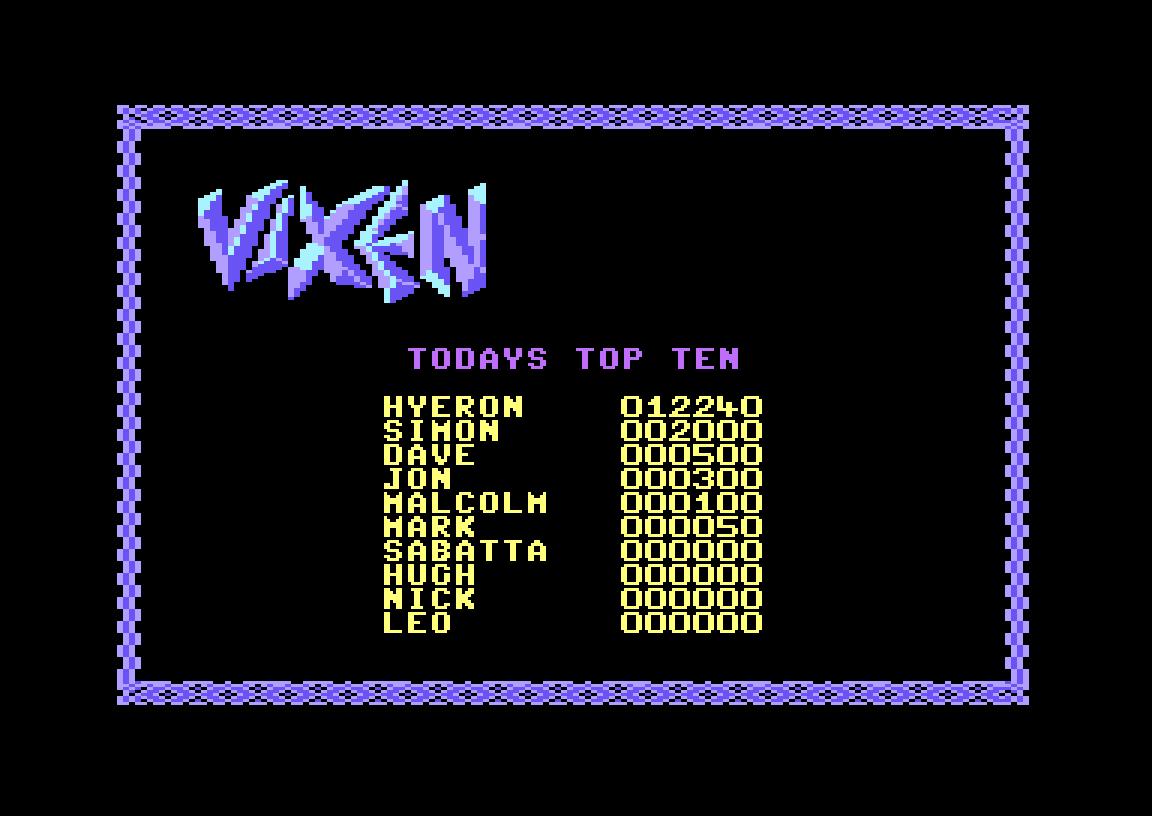 Hyeron: Vixen (Commodore 64 Emulated) 12,240 points on 2019-06-30 12:36:36