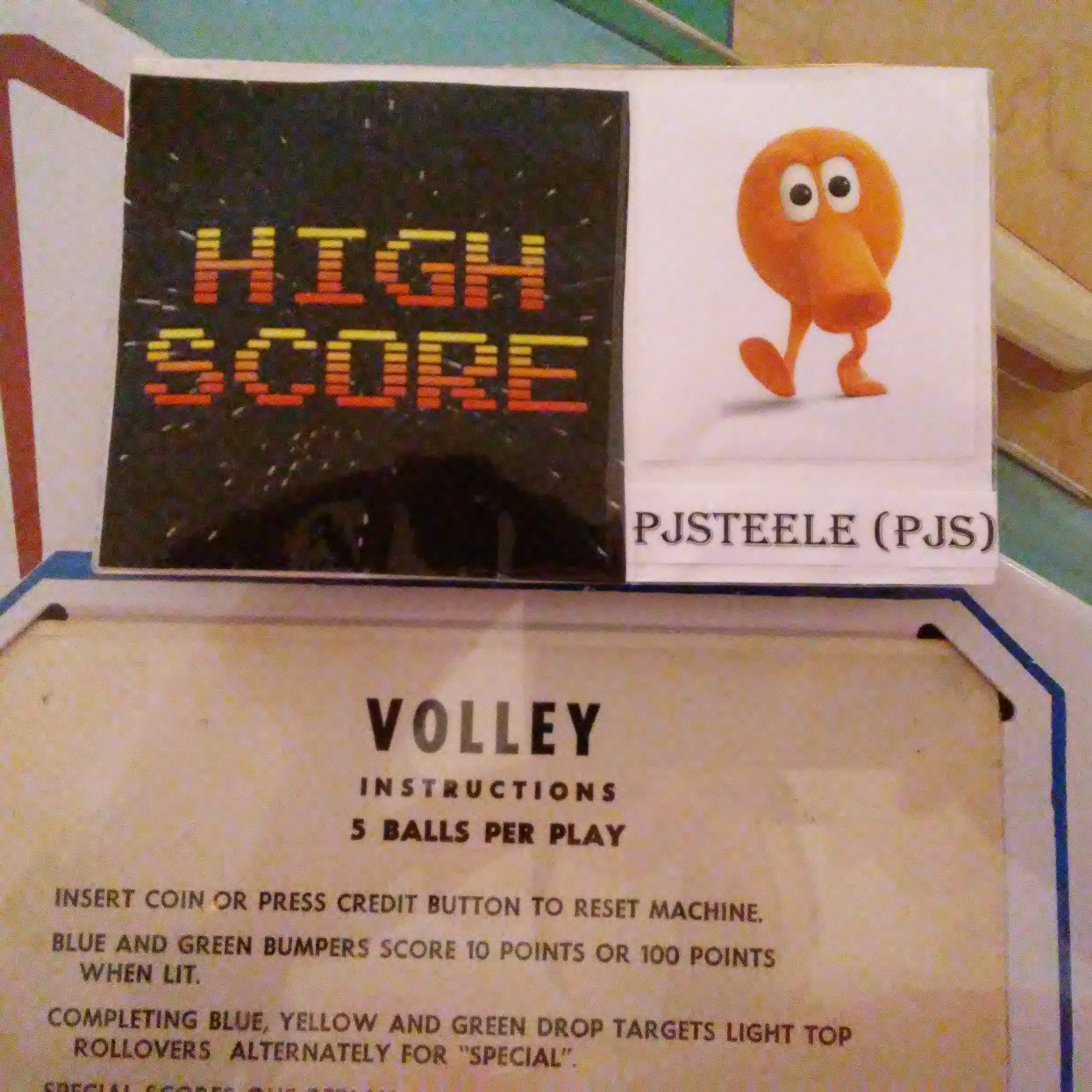 Pjsteele: Volley (Pinball: 5 Balls) 44,460 points on 2017-12-31 19:36:46