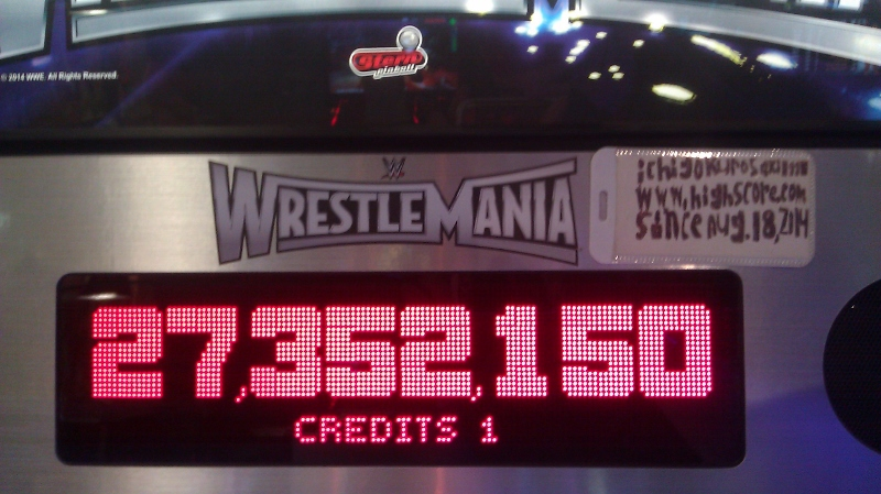 ichigokurosaki1991: WWE Wrestlemania (Pinball: 3 Balls) 27,352,150 points on 2016-04-03 00:27:49
