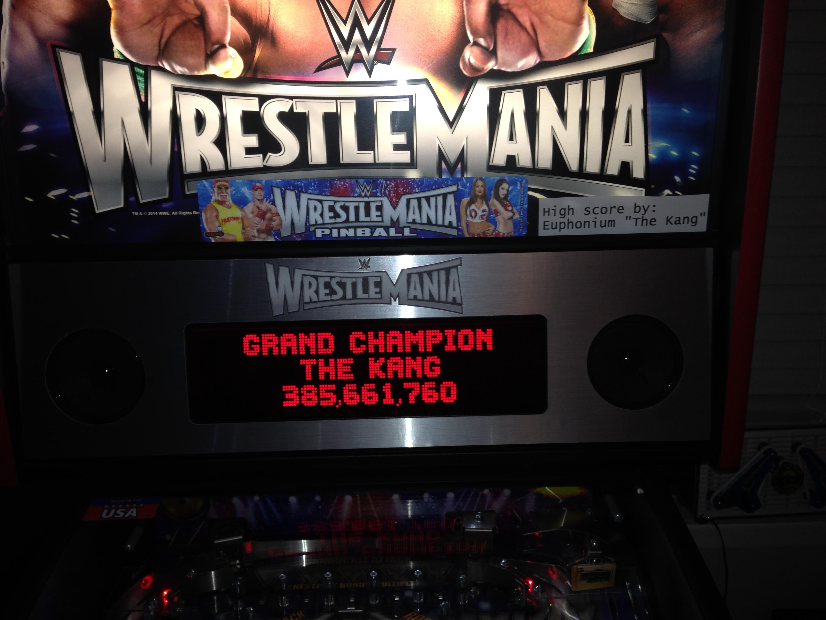 euphonium: WWE Wrestlemania (Pinball: 3 Balls) 385,661,760 points on 2016-05-16 00:02:50