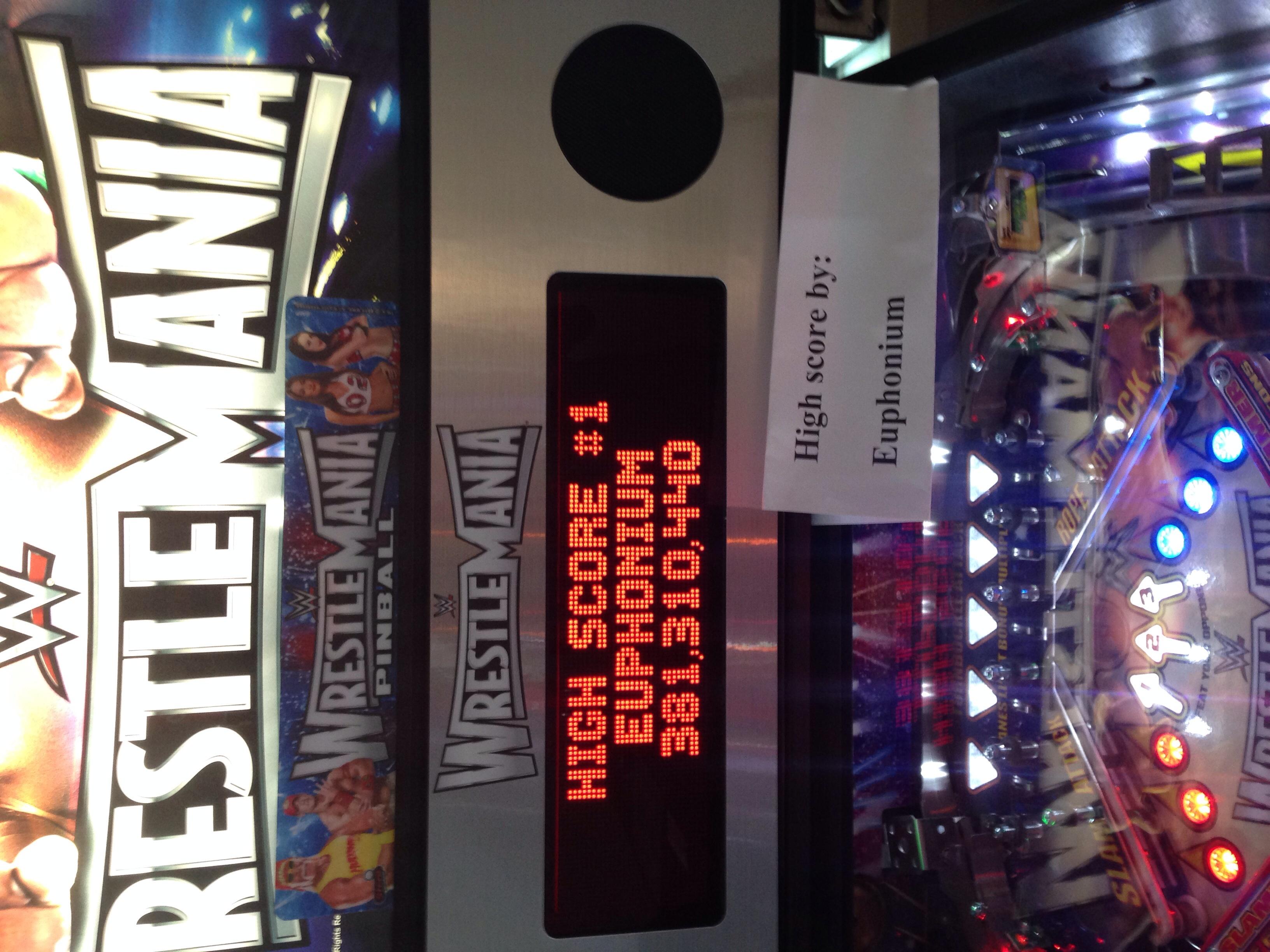 euphonium: WWE Wrestlemania (Pinball: 5 Balls) 381,310,440 points on 2016-06-26 16:15:39