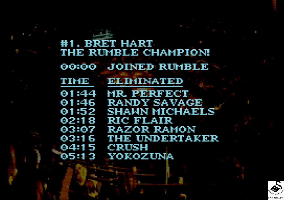 gazzhally: WWF Royal Rumble: Royal Rumble Match [Most Eliminations] (SNES/Super Famicom Emulated) 8 points on 2017-10-04 12:14:28