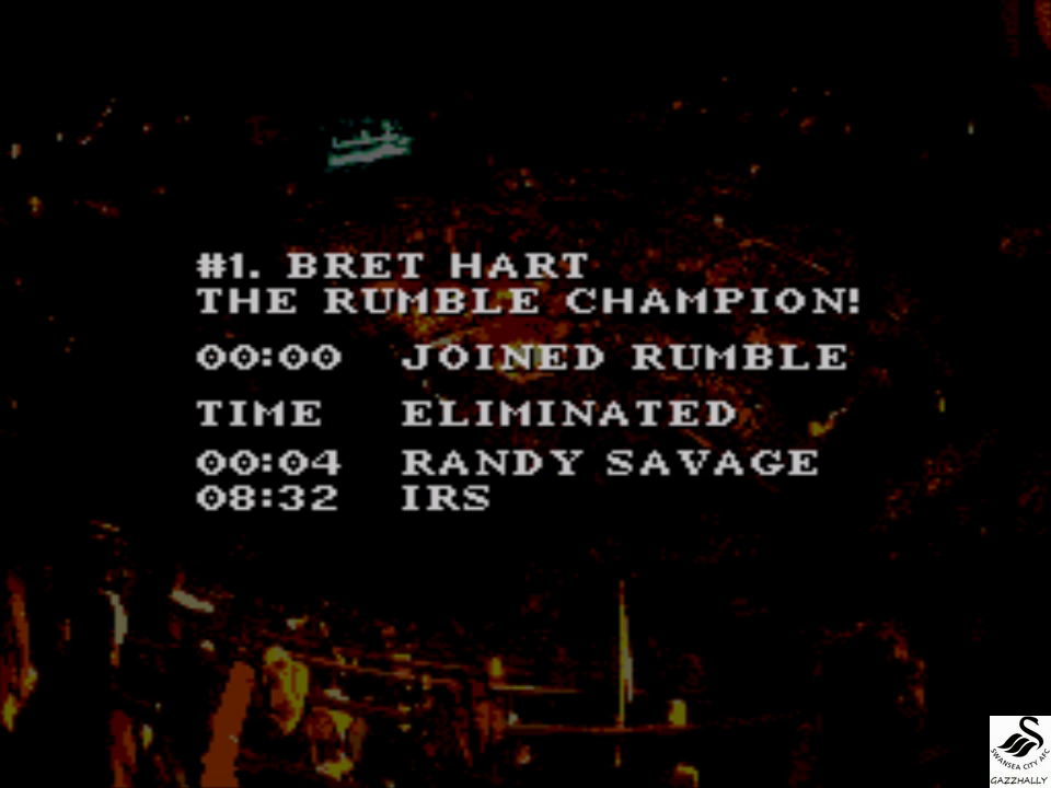 gazzhally: WWF Royal Rumble: Royal Rumble match [Longest Time] (Sega Genesis / MegaDrive Emulated) 0:08:32 points on 2017-10-04 12:18:37