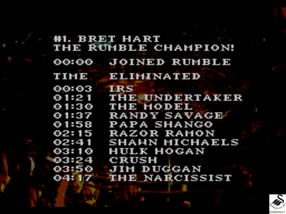 gazzhally: WWF Royal Rumble: Royal Rumble match [Most Eilminations] (Sega Genesis / MegaDrive Emulated) 11 points on 2017-07-03 06:07:12