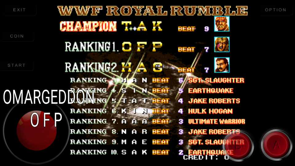 omargeddon: WWF WrestleFest [# of Eliminations] (Arcade Emulated / M.A.M.E.) 7 points on 2016-11-01 14:05:40