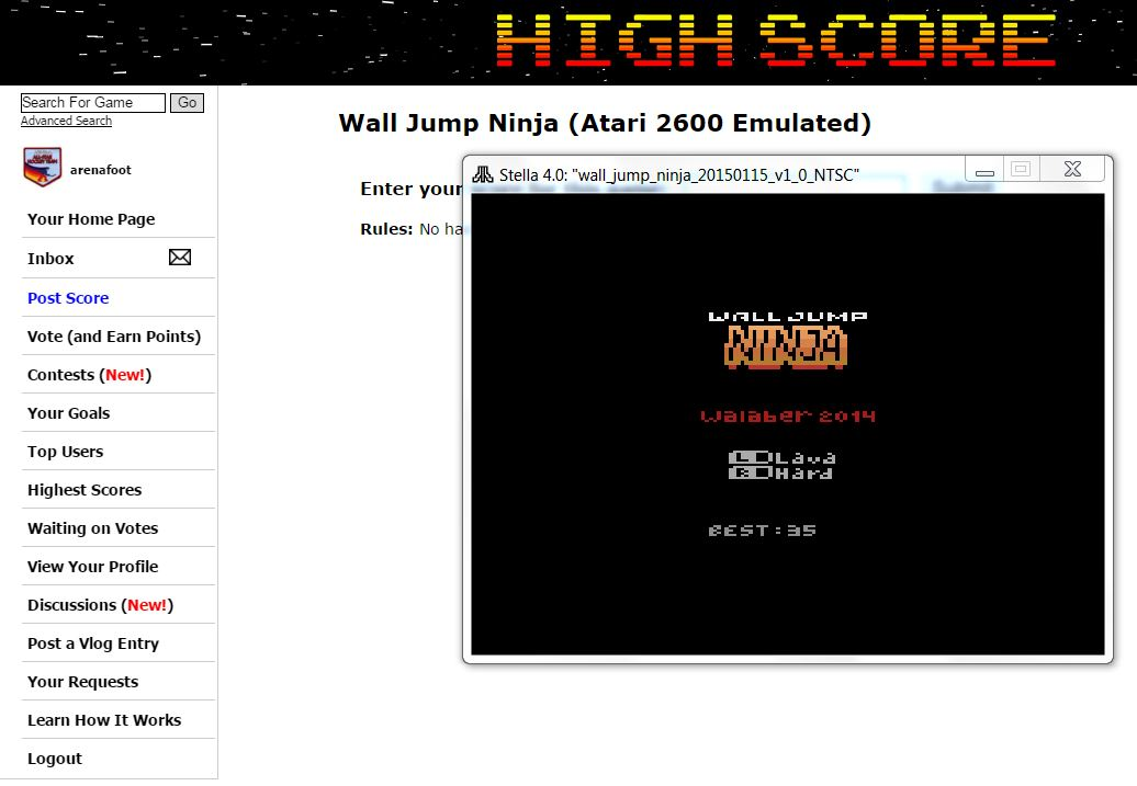 arenafoot: Wall Jump Ninja (Atari 2600 Emulated) 35 points on 2016-02-05 00:39:07