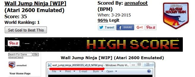 nads: Wall Jump Ninja [WIP] (Atari 2600 Emulated) 61 points on 2016-03-04 02:50:50