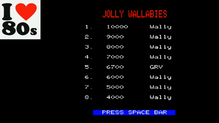 Giorvam: Wallaby (BBC Micro Emulated) 6,700 points on 2018-01-29 13:09:35