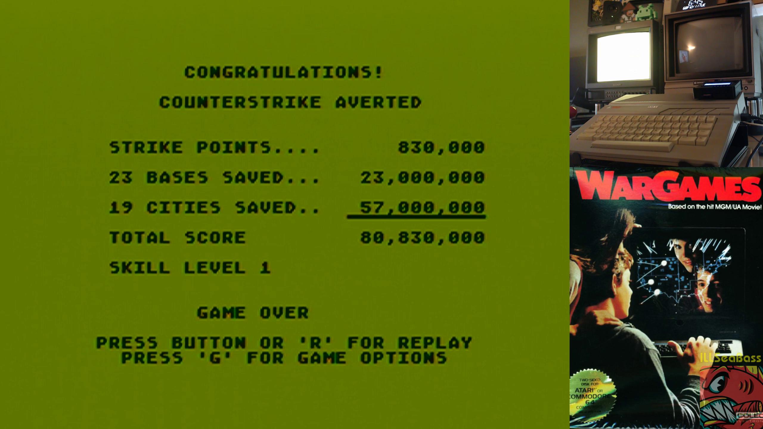 ILLSeaBass: Wargames:  Skill 1 (Atari 400/800/XL/XE) 80,830,000 points on 2018-12-11 19:45:31