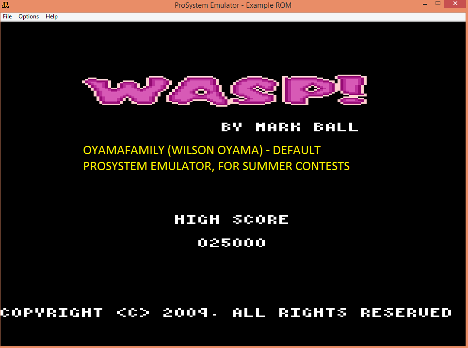 oyamafamily: Wasp! (Atari 7800 Emulated) 25,000 points on 2016-07-21 11:26:50