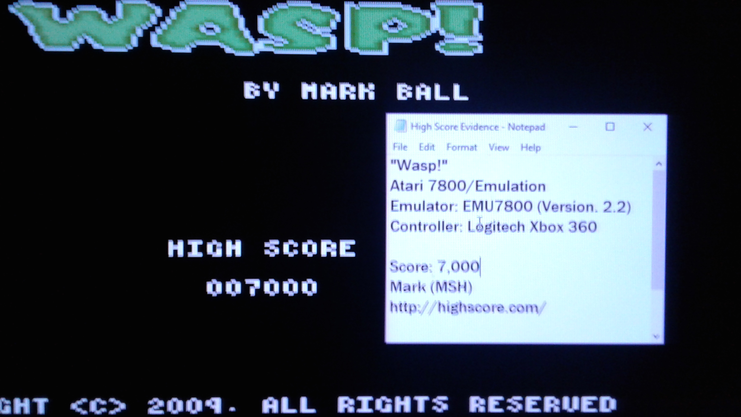 Mark: Wasp! (Atari 7800 Emulated) 7,000 points on 2019-04-13 02:57:35