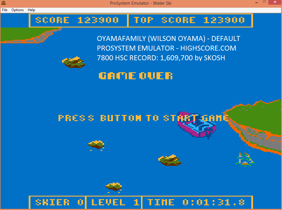 oyamafamily: Water Ski (Atari 7800 Emulated) 123,900 points on 2016-02-17 18:48:27