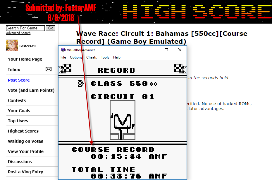 FosterAMF: Wave Race: Circuit 1: Bahamas [550cc][Course Record] (Game Boy Emulated) 0:00:15.44 points on 2018-09-09 17:32:40