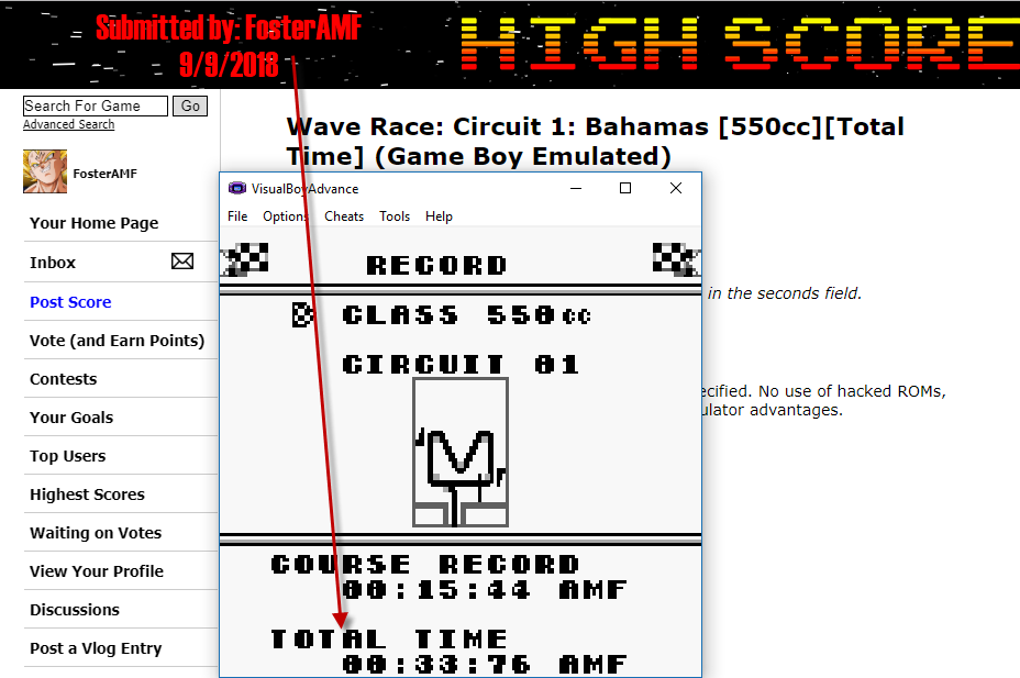 FosterAMF: Wave Race: Circuit 1: Bahamas [550cc][Total Time] (Game Boy Emulated) 0:00:33.76 points on 2018-09-09 17:34:07