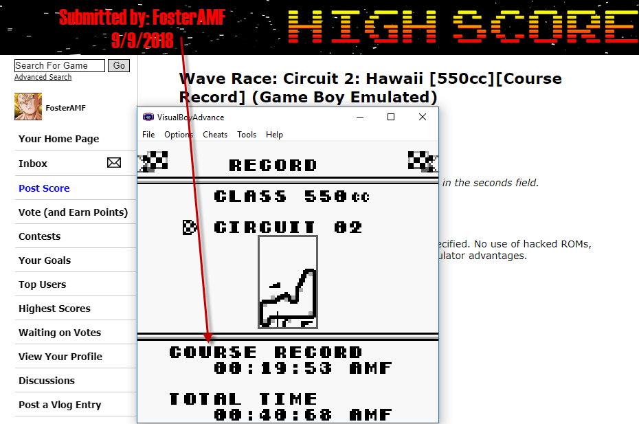 FosterAMF: Wave Race: Circuit 2: Hawaii [550cc][Course Record] (Game Boy Emulated) 0:00:19.53 points on 2018-09-09 17:36:25
