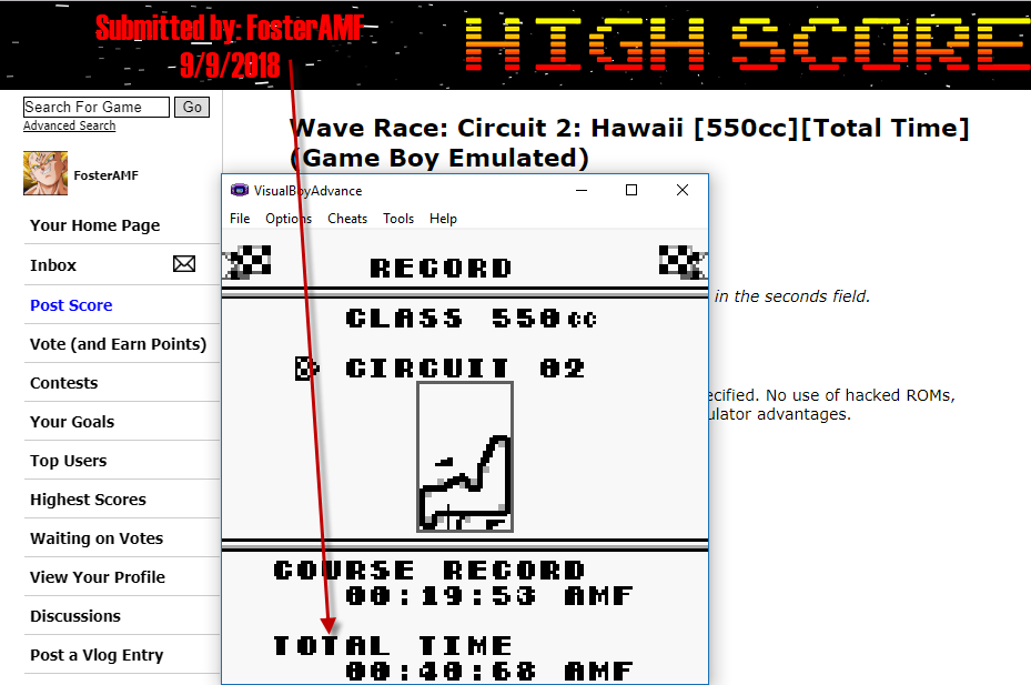 FosterAMF: Wave Race: Circuit 2: Hawaii [550cc][Total Time] (Game Boy Emulated) 0:00:40.68 points on 2018-09-09 17:37:25