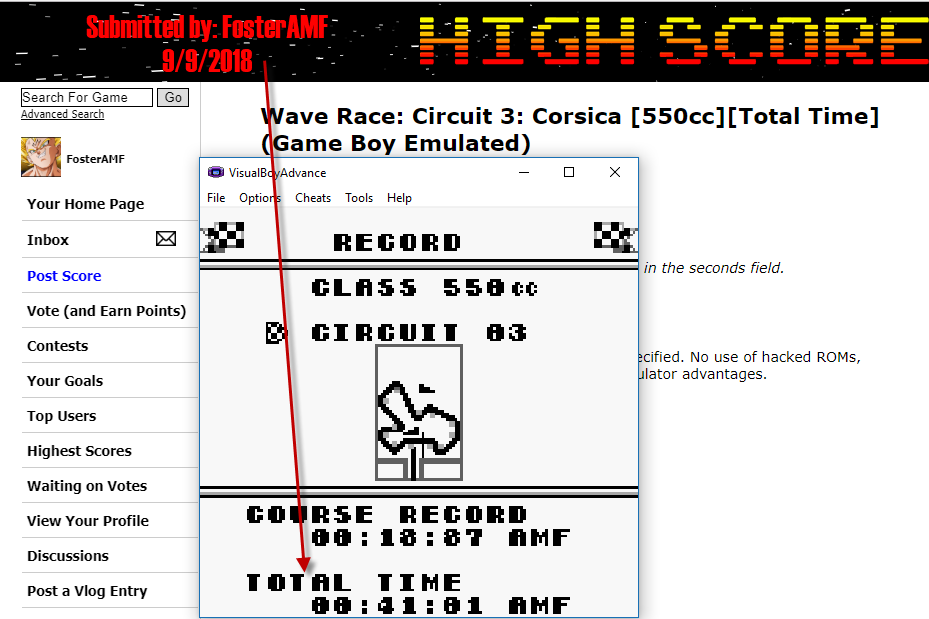 FosterAMF: Wave Race: Circuit 3: Corsica [550cc][Total Time] (Game Boy Emulated) 0:00:41.01 points on 2018-09-09 17:43:06