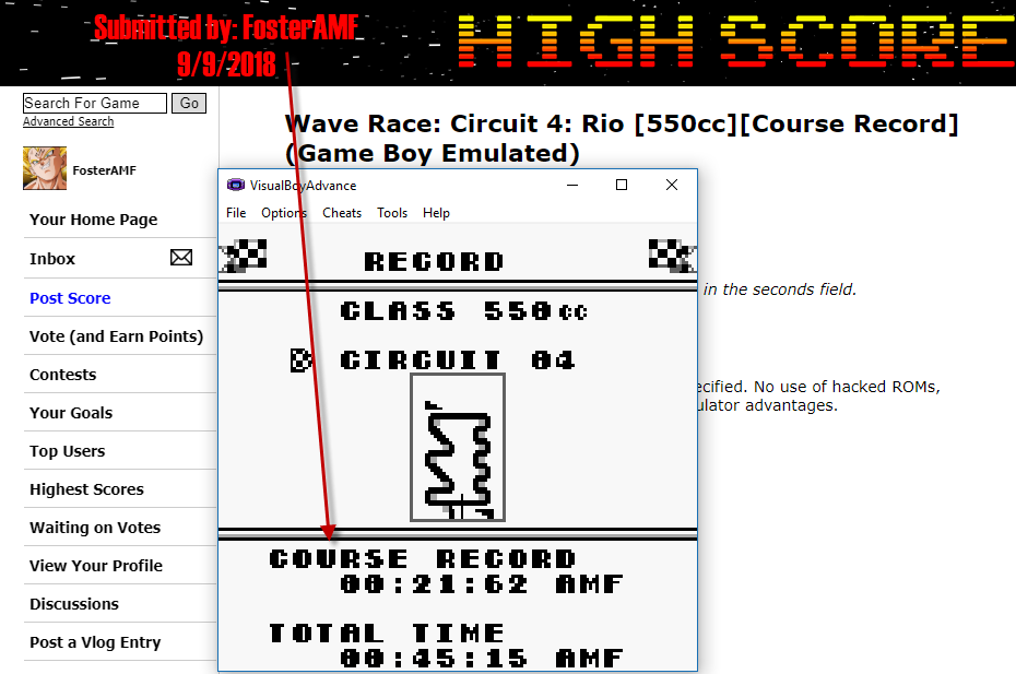 FosterAMF: Wave Race: Circuit 4: Rio [550cc][Course Record] (Game Boy Emulated) 0:00:21.62 points on 2018-09-09 17:44:46