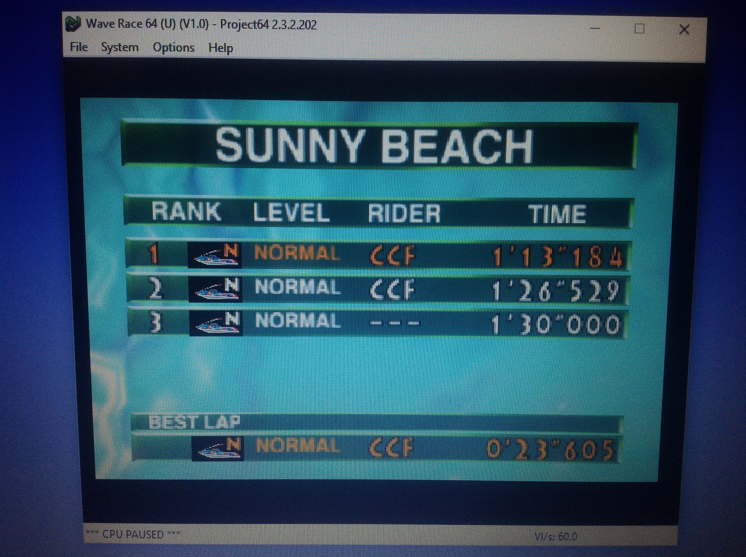 CoCoForest: Wave Race: Sunny Beach [Time Trial] [Normal] (N64 Emulated) 0:01:13.184 points on 2018-01-29 11:19:46