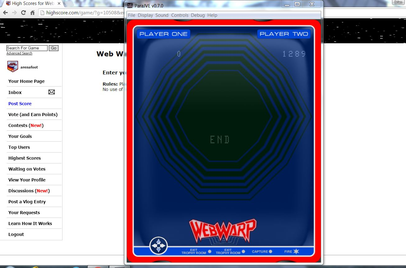 arenafoot: Web Wars / Web Warp (Vectrex Emulated) 12,895 points on 2016-06-15 01:04:49