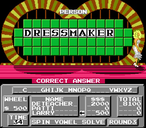 Deteacher: Wheel of Fortune: Family Edition [Skill 1] (NES/Famicom Emulated) 8,100 points on 2015-07-05 07:11:07