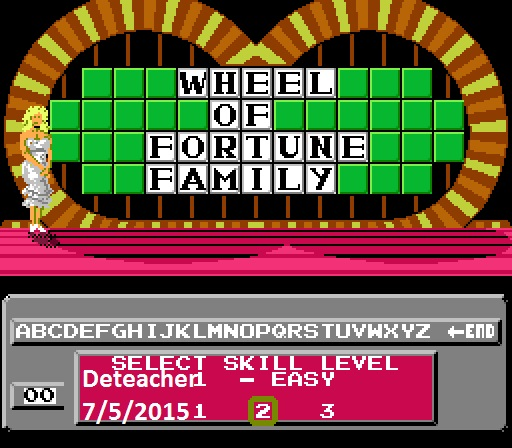 Deteacher: Wheel of Fortune: Family Edition [Skill 2] (NES/Famicom Emulated) 7,800 points on 2015-07-05 09:01:12