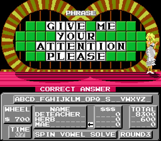 Deteacher: Wheel of Fortune: Family Edition [Skill 3] (NES/Famicom Emulated) 8,300 points on 2015-07-11 13:37:57